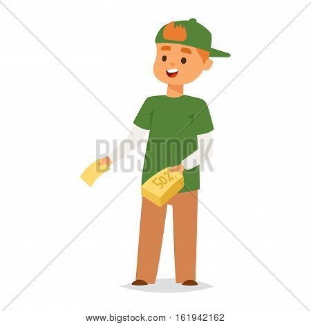 Promoter boy character. Discount banner promo boy vector flat cartoon illustration. Promoter man marketing business people. Promotion sale special clearance communication.