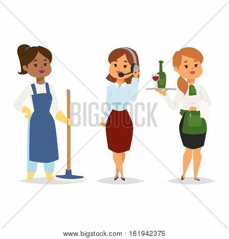 Group of workers people. Workers people different industry servise adult success team. Cleaners people vector. Manager consultant woman adviser and waitress girl.