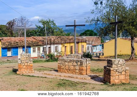 TRINIDAD, CUBA - MARCH 25, 2016: The Three Crosses site in the UNESCO World Heritage old town of Trinidad Cuba