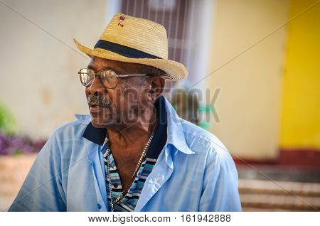 TRINIDAD, CUBA - MARCH 25, 2016: Afrocuban musicians playing on the street in the UNESCO World Heritage old town of Trinidad Cuba