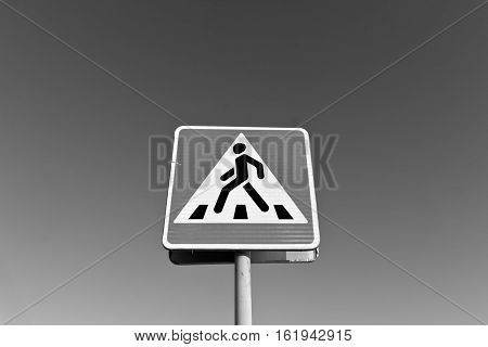 Metal Pedestrian Sign In Black And White