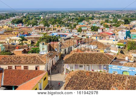 TRINIDAD, CUBA - MARCH 25, 2016: Aerial view of the Old Town from San Francisco Convent in the UNESCO World Heritage town of Trinidad Cuba