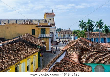 TRINIDAD, CUBA - MARCH 25, 2016: View of the main square from San Francisco Convent in the UNESCO World Heritage old town of Trinidad Cuba