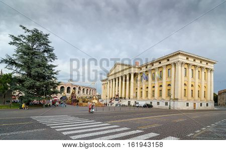VERONA, ITALY - SEPTEMBER 5, 2015: Barbieri Palace or Palazzo Barbieri is a Neoclassical style palace located in Piazza Bra in Central Verona. It now serves as the town hall. Verona, Italy.