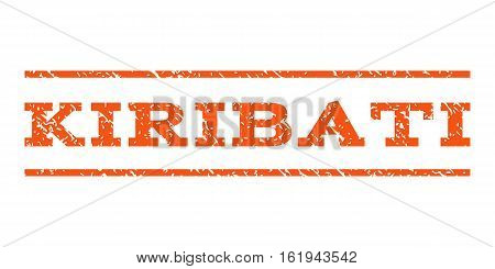 Kiribati watermark stamp. Text tag between horizontal parallel lines with grunge design style. Rubber seal stamp with dirty texture. Vector orange color ink imprint on a white background.