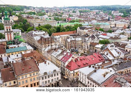 Aerial panoramic view of Lviv with the most famous sights from Lviv city hall, Ukraine