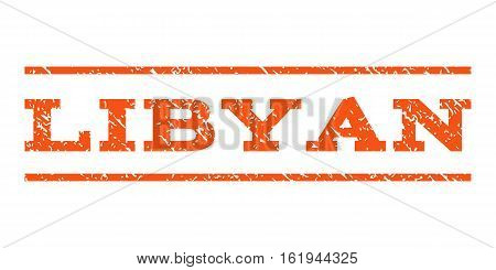 Libyan watermark stamp. Text caption between horizontal parallel lines with grunge design style. Rubber seal stamp with scratched texture. Vector orange color ink imprint on a white background.