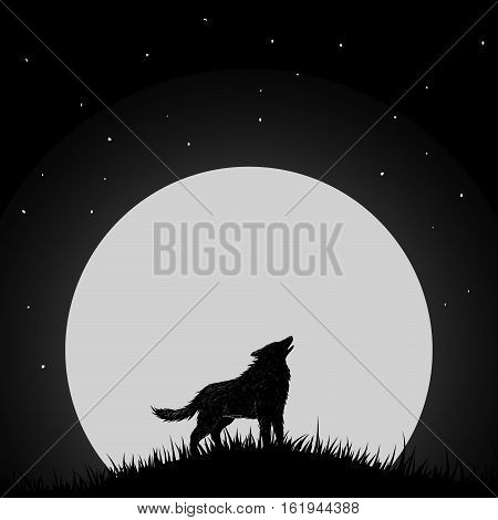 Wolf howling at the moon.Mystery night.Vector illustration