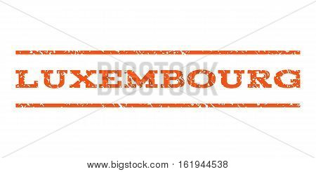 Luxembourg watermark stamp. Text tag between horizontal parallel lines with grunge design style. Rubber seal stamp with unclean texture. Vector orange color ink imprint on a white background.
