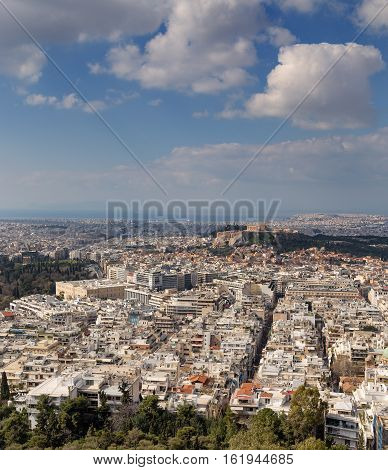 View of Athens and Acropolis from Lycabettus hill, Greece