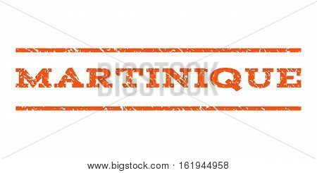 Martinique watermark stamp. Text caption between horizontal parallel lines with grunge design style. Rubber seal stamp with dust texture. Vector orange color ink imprint on a white background.