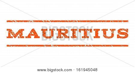 Mauritius watermark stamp. Text caption between horizontal parallel lines with grunge design style. Rubber seal stamp with unclean texture. Vector orange color ink imprint on a white background.