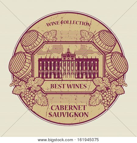Red grunge rubber stamp or label with the text Best wines collection Cabernet Sauvignon written inside vector illustration