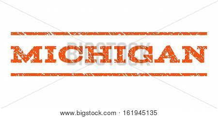 Michigan watermark stamp. Text tag between horizontal parallel lines with grunge design style. Rubber seal stamp with dirty texture. Vector orange color ink imprint on a white background.