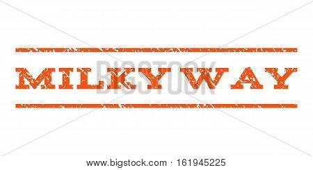 Milky Way watermark stamp. Text tag between horizontal parallel lines with grunge design style. Rubber seal stamp with dirty texture. Vector orange color ink imprint on a white background.
