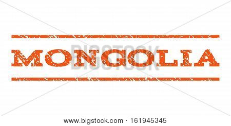 Mongolia watermark stamp. Text tag between horizontal parallel lines with grunge design style. Rubber seal stamp with unclean texture. Vector orange color ink imprint on a white background.