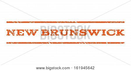 New Brunswick watermark stamp. Text caption between horizontal parallel lines with grunge design style. Rubber seal stamp with unclean texture. Vector orange color ink imprint on a white background.