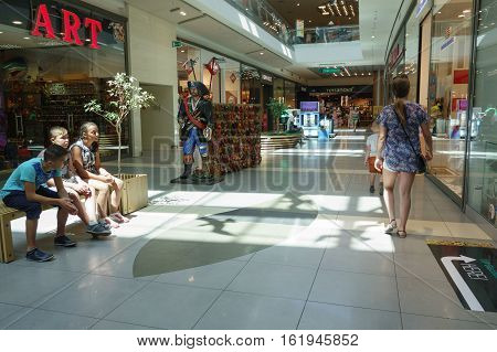 Burgas Bulgaria - JUNE 23 2016: Burgas Mall Galleria the largest shopping center in Bulgaria which hundreds of shoppers and tourists visit every day.
