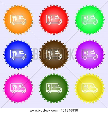 Food Truck Icon Sign. Big Set Of Colorful, Diverse, High-quality Buttons. Vector