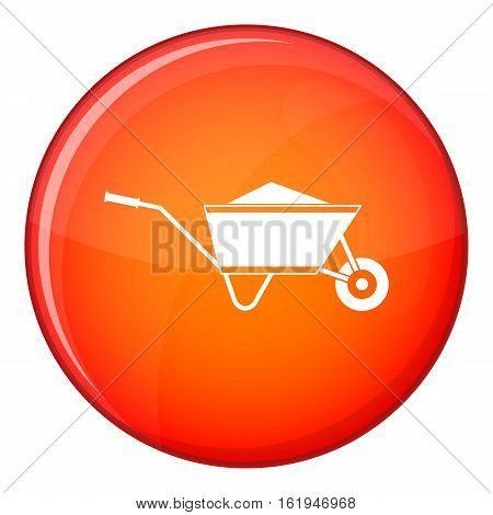 Wheelbarrow with sand icon in red circle isolated on white background vector illustration