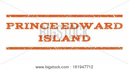 Prince Edward Island watermark stamp. Text caption between horizontal parallel lines with grunge design style. Rubber seal stamp with dirty texture.