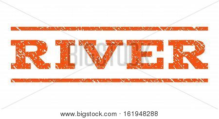 River watermark stamp. Text caption between horizontal parallel lines with grunge design style. Rubber seal stamp with scratched texture. Vector orange color ink imprint on a white background.