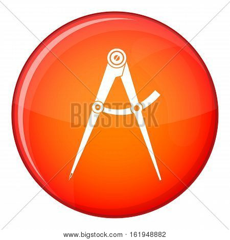 Compass tool icon in red circle isolated on white background vector illustration