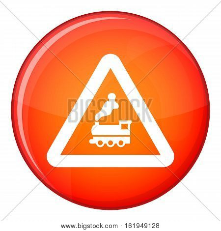 Warning sign railway crossing without barrier icon in red circle isolated on white background vector illustration