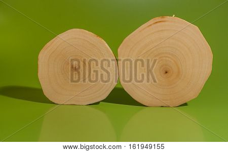 Two polished and oiled alder saw cuts stand together on green background.