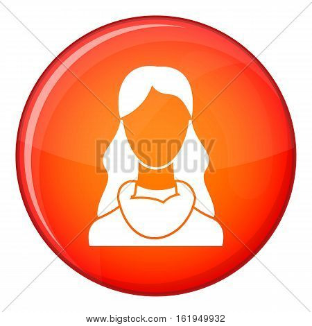 Woman icon in red circle isolated on white background vector illustration