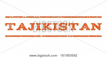 Tajikistan watermark stamp. Text tag between horizontal parallel lines with grunge design style. Rubber seal stamp with unclean texture. Vector orange color ink imprint on a white background.