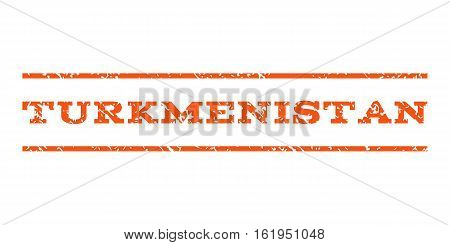 Turkmenistan watermark stamp. Text caption between horizontal parallel lines with grunge design style. Rubber seal stamp with dirty texture. Vector orange color ink imprint on a white background.