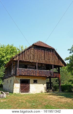 View of traditional peasants house Zagorje area of Croatia