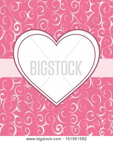 Vintage frame heart background invitation ornament. Vector  illustration.