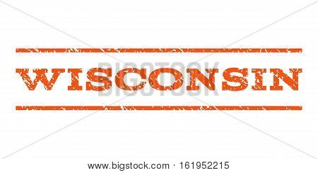 Wisconsin watermark stamp. Text tag between horizontal parallel lines with grunge design style. Rubber seal stamp with dirty texture. Vector orange color ink imprint on a white background.