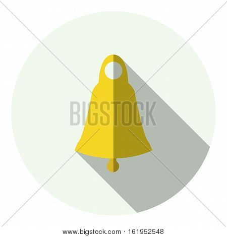 Golden christmas jingle bell circle flat icon