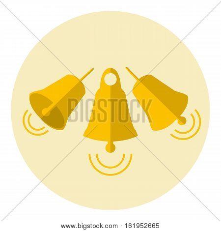 Golden christmas jingle bells circle flat icon