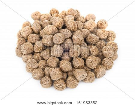 Heap Of Extruded Rye Bran Isolated On White