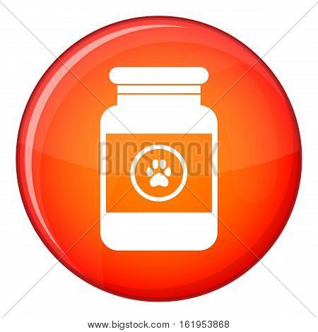 Treatment solution for animals icon in red circle isolated on white background vector illustration