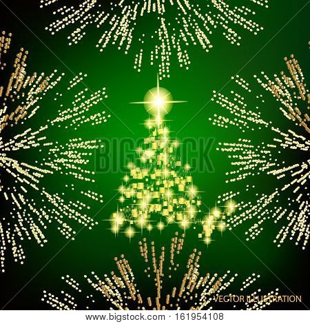 Abstract background with christmas tree, lines, stars and ornaments. Illustration in green and gold colors with gold placer in border. Vector illustration.