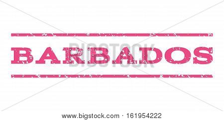 Barbados watermark stamp. Text caption between horizontal parallel lines with grunge design style. Rubber seal stamp with dust texture. Vector pink color ink imprint on a white background.