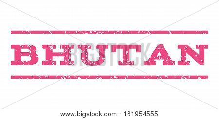 Bhutan watermark stamp. Text tag between horizontal parallel lines with grunge design style. Rubber seal stamp with unclean texture. Vector pink color ink imprint on a white background.