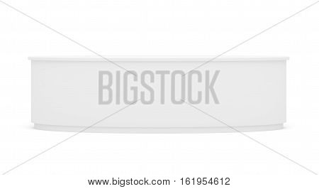 White round POS POI empty retail stand. Isolated on white background. Mock-up template for your design. 3D illustration