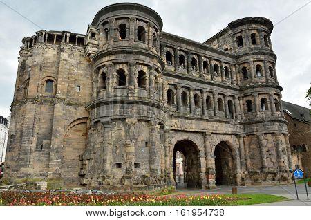 2nd-century Roman city gate Porta Nigra in Trier, Germany.
