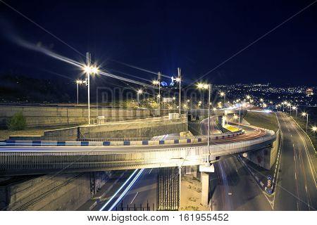beautiful city. Yerevan at night light way