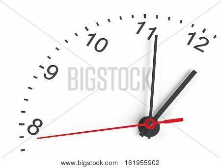 Close-up clock face. Isolated on white. 3D rendering