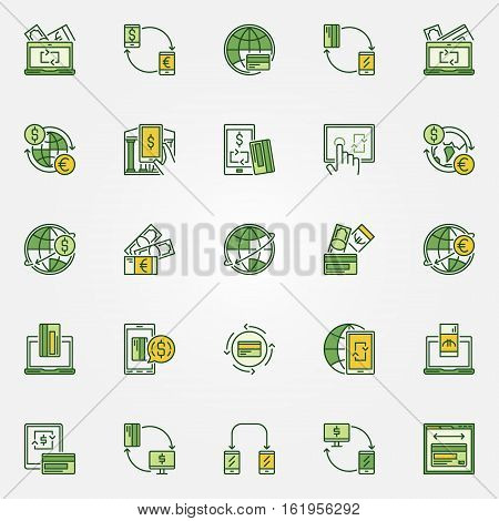 Transfer money colorful icons. Vector set of green payment symbols. Mobile transactions and money transferring concept signs