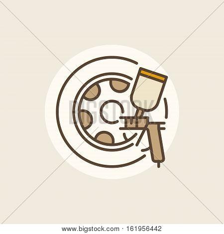 Wheel paints icon. Vector rim paint colorful sign or logo element