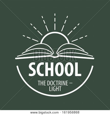 logo book and sun with rays. Vector illustration of icon