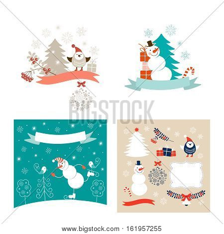 New Year design elements and Christmas greeting cards